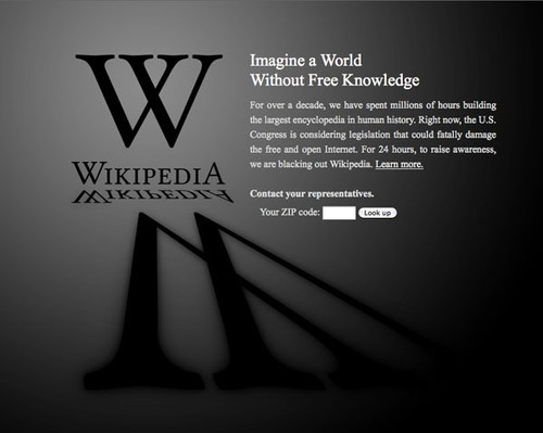 Wikipedia blackout to protest web piracy bills