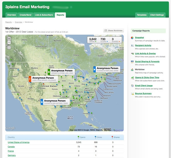 Email Marketing Map by 3plains