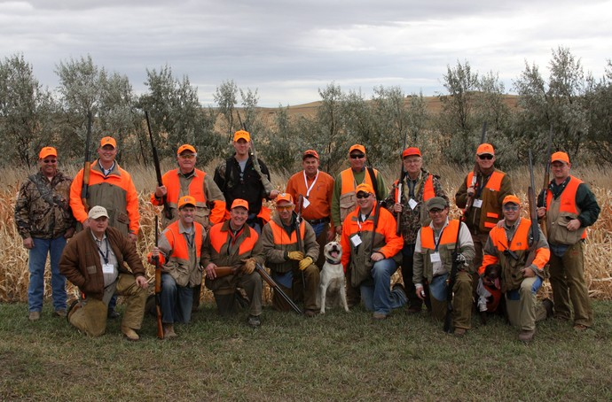South Dakota invitational governor's hunt at Antler Ridge Lodge. Land/Lodge owner Steve Kubik is on the far left and Ryan of 3plains is in the back row in black.