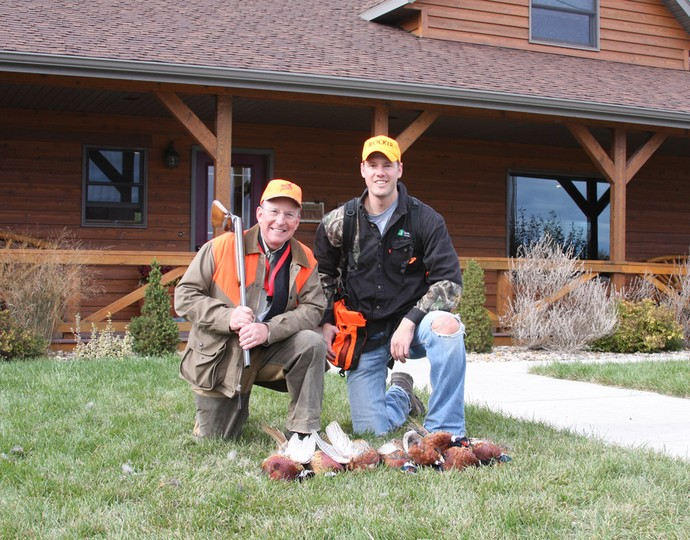 Ron Schmeits the president of the NRA and Ryan of 3plains after a great pheasant hunt at Antler Ridge Lodge.