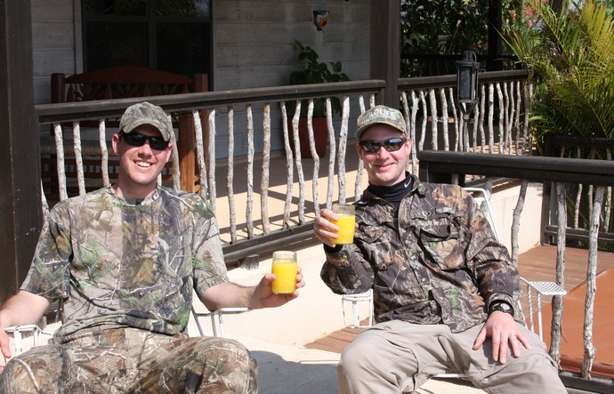 Ryan having a Mango Margarita with Ben and a group of duck hunters from Florida at the Pintail Lodge.