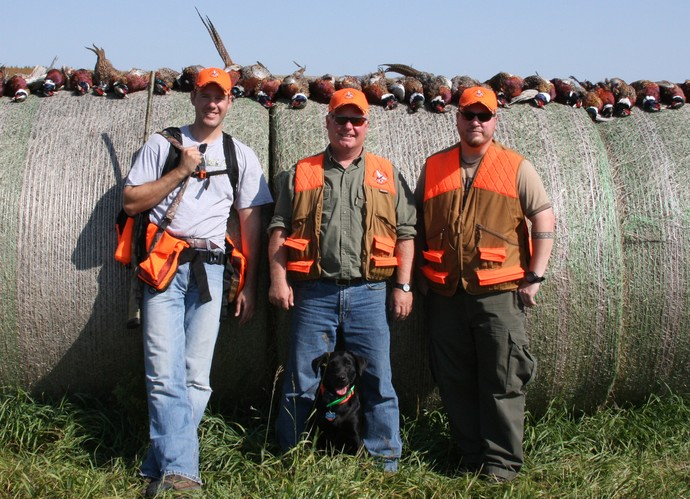 L to R: Ryan of 3plains, Jim Owner of Diamond A Ranch and a 3plains designer on a early season south dakota pheasant hunt.