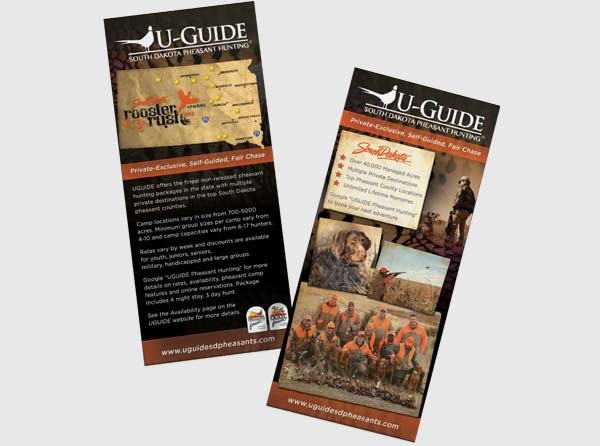 View Pheasant Hunting Guide / Outfitter Rackcard Design