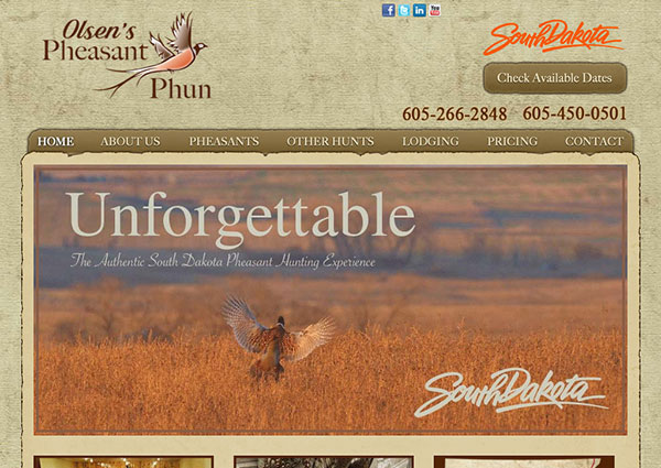 South Dakota Ranch - Hunting Web Design